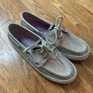 Sperry silver sequin boat shoes, 6.5